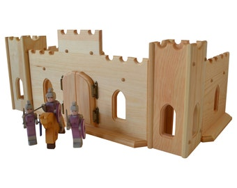 Natural Wooden Play Castle With German Ostheimer Knights Set