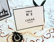 50 x PRINTABLE Black & White Table Numbers (DIGITAL), Chanel Wedding Place Name Cards, Chanel party, wedding table decor