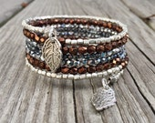 Mixed Metal Sparkler Memory Wire Wrap Bracelet With Silver Leaf Charms