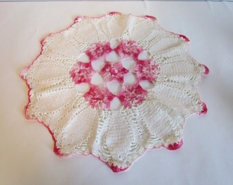 Vintage Pink And White Crocheted Doily Round Table Linen Cottage Style Decorating Decor Easter  Spring Decor