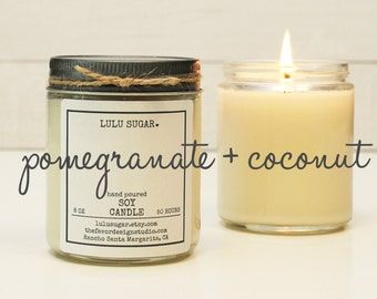 Pomegranate + Coconut Soy Candle - 8 oz jar | Candle Gift | Gift for Her | Gift for Mom | Holiday Gift | Scented Candle | Send a Gift
