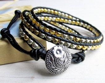 Gold and Silver Three Wrap Bracelet ~ Multiwrap Bracelet ~ Black Wrap ~ Adjustable Size Bracelet ~ Triple Wrap Fashion Bracelet