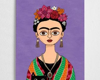 Frida Kahlo art print, mexican artist // Frida