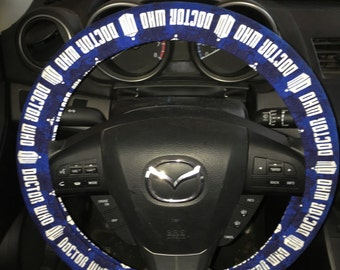 Blue Dr Who Steering Wheel Cover