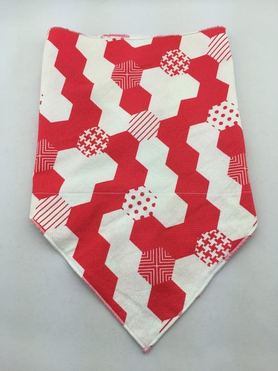 Digital Honeycomb 2: Red & White Honeycomb Psychedelic Print Bandana w/ Secret Pocket