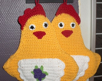 crochet chicken pot holder, easter decor, kitchen decor, crocheted chicken pot holder