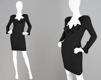Vintage 80s THIERRY MUGLER Little Black Dress Avant Garde Light Crepe Flocked Velvet Daring Neckline Wide Shoulder Pads Luxury Designer
