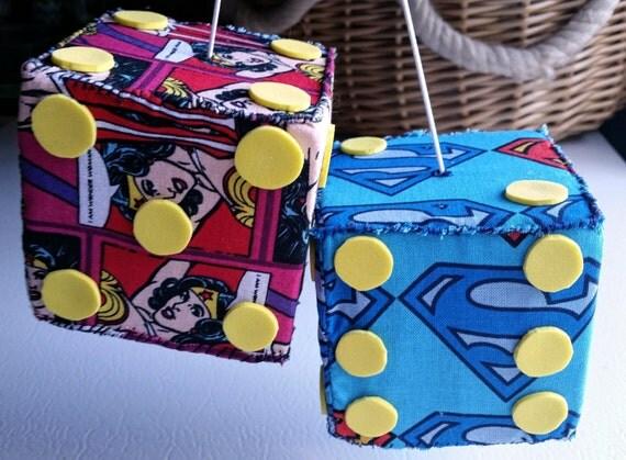 Superman Car Accessories: Superman Wonder Woman Fuzzy Dice Car Dice Fabric By