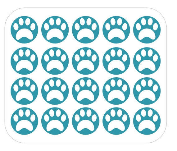 Paw print nail decals vinyl custom color choice from for Custom vinyl mural prints