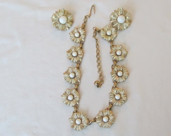 Estate Vintage Signed Charel Necklace & Earring Set White Flower