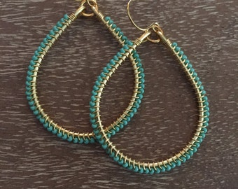 Gold Wire Wrapped Teardrop Earring with Teal Seed Beads