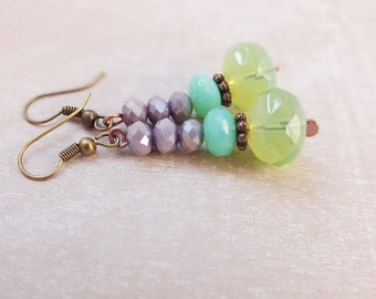 Green lavender Earrings - Boho Earrings- Spring fashion- Spring earrings- Colorful Earrings - Beads Earrings