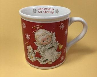 "Vintage MOREHEAD Angel and Kitty Angel Christmas Mug Cup by Enesco - ""Christmas is for Sharing"" - Red Mug - Morehead Children Art"