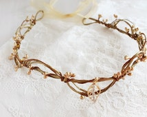 Gold Bridal Crown, Simple Rustic Tiara, Leaf Head Piece, Woodland Crown, Gold Berry Crown, Goddess Crown, Gold Head Piece, Gold Rustic Crown