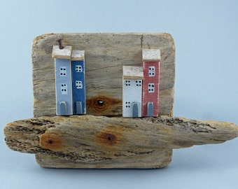 Hanging Driftwood Little Houses Ornament # 299