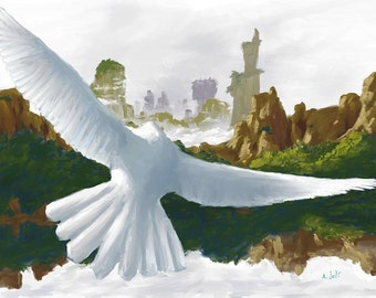Print of Painting Dove Bird in Flight with Cliffs and Reflections in Water