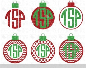 Christmas Ornament Monogram Frames - .svg/.eps/.dxf/.ai for Silhouette Studio, Cricut, or other cutting software