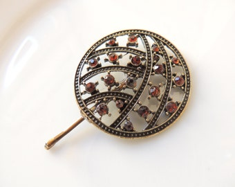 Adorable Vintage Style Pin with Browns Stones, Bobby Pins, Bronze Clip, Hair Accessories, Cabochon,Filigree Hair Clips