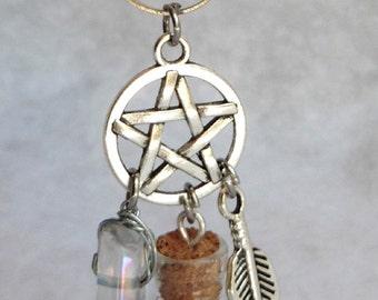 Bohemian White Magic Crystal Necklace - Pagan, Wicca, Pentacle, Pendulum, Quartz, Wiccan, Ahs, Magic, Boho, Witchcraft, Spirit, Divination