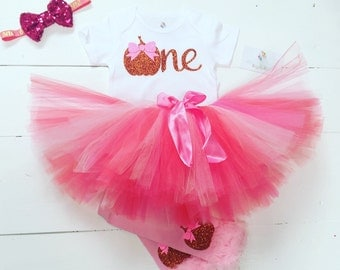 Pumpkin birthday outfit / pink and orange Pumpkin birthday outfit baby girl / 1st birthday Pumpkin outfit