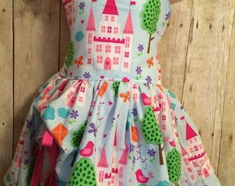 Handmade peekaboo dress princess castle sizes newborn - girls 8