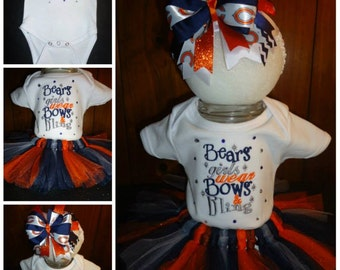 MADE TO ORDER, Bears Girls Wear Bows and Bling, Baby Girl Tutu outfit, Bodysuit, Hairbow, Tutu, Bears Fans, Baby Sports Gifts, Baby Shower,