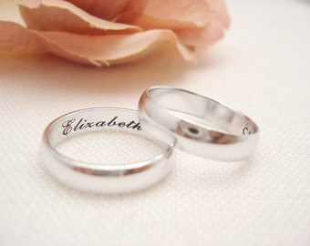Personalized Sterling silver Ring 4mm Band ...Custom Engravable ring, eternity ring, Best friends ring, Promise ring, wedding band