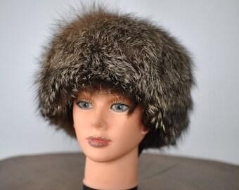 Vintage FOX FUR HAT , glamorous fur hat , luxurious fox fur hat...(002)