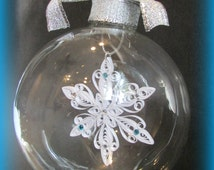Personalized Christmas Ornament / Glass / Quilled Snowflake / White / Snowflake/ Glass Etched Ornaments