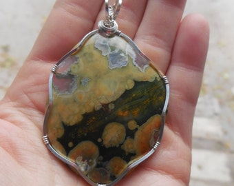 Forest Jasper/Green/Big/Hand-wrapped in Silver/Pendant