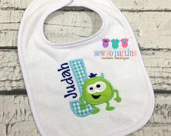 Personalized Baby Boy Bib - Personalized Monster Bib - Baby Monster Bib