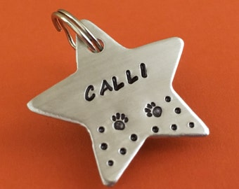 star dog tag, dog tag for dogs, paw pet tag, dog id tag, pet tags, personalized dog tags, custom pet tags, star pet tag