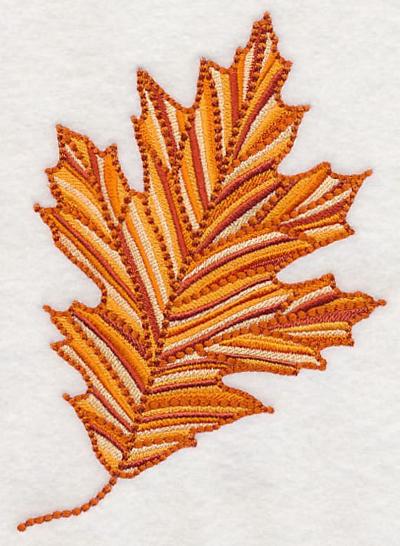 Items similar to red oak leaf embroidered kitchen towel