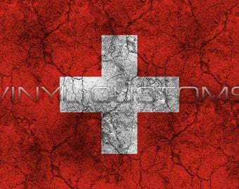 Swiss Flag Worn Distressed Vintage Vinyl Decal Sticker