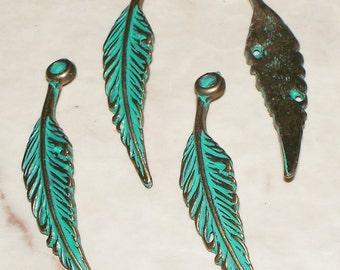 Patina Green Brass Falling Feather Pendant/Charm