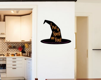 "Witch's ""I Put A Spell On You"" Hat Halloween Wall Sticker"