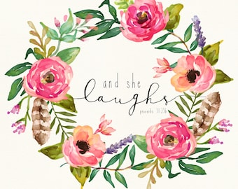 "Download Floral Scripture Art Print | ""And She Laughs"" - Proverbs 31:25 - 8x10"