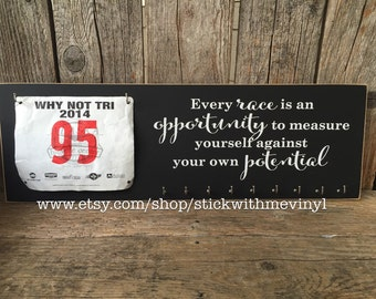 MEDAL RaCK every RACE is an opportinity run holder running bib trophy runner race sports family sign home decor triathalon marathon display