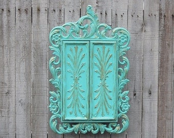 Jewelry Box, Shabby Chic, Jewelry Armoire, Aqua, Wall Mount, Hanging, Sarah Coventry, Syroco, Jewelry Cabinet, Gift for Wife, Gift for Mom