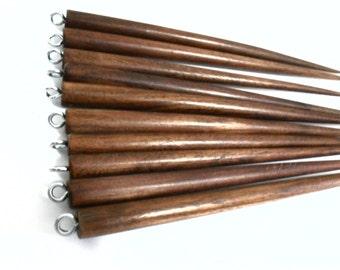 Brown Wood Hairsticks, Set of 10 Wooden Hair Sticks, 6 inch Wood Hair Sticks with Screw Eyes, Hairsticks Supplies, Hair Stick Supplies