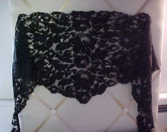 Vintage Victorian Black Lace Scarf,  49 inches long and center is 12 inches.  #970