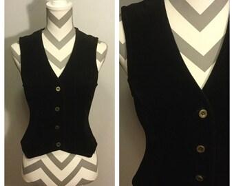 1970s Black velvet vest