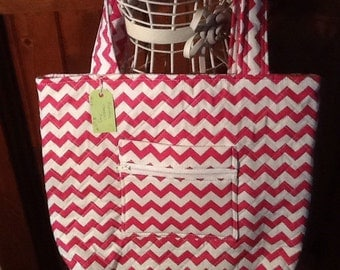 Fuchsia Chevron Handbag on sale