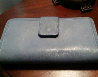 Vintage women's ladies blue leather accordion double snap, zippered, ID, credit card, checkbook wallet.