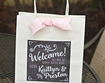 WELCOME Bridal Favor Bag Stickers Hotel Guest Label Wedding Welcome