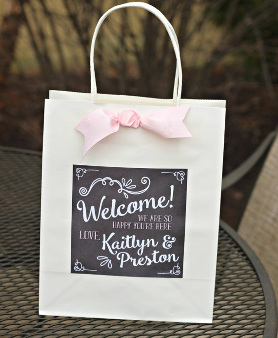 WELCOME -- Bridal Favor Bag Stickers, Hotel Guest Bag