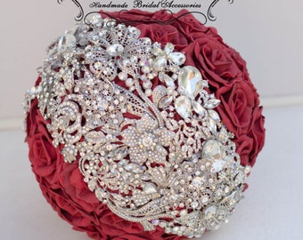 Brooch Bouquet, red Bouquet. Crystal Brooch Wedding red  bouquet . Big Rhinestone Broaches bouquet.