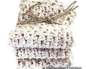 Handmade Dish Cloths  Eco Friendly Cotton Crochet Kitchen Dish Cloths  Beige Cottage Shabby Chic Gift Set of 3