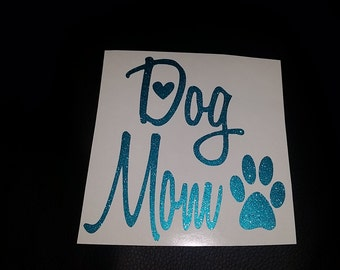 """5"""" x 5"""" Blue Glitter Dog Mom Vinyl Decal with Heart and Paw"""