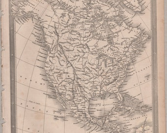 1843 Vintage Map of North America #00153